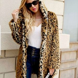 NEW Leopard Open Front Faux Fur Coat with Hood